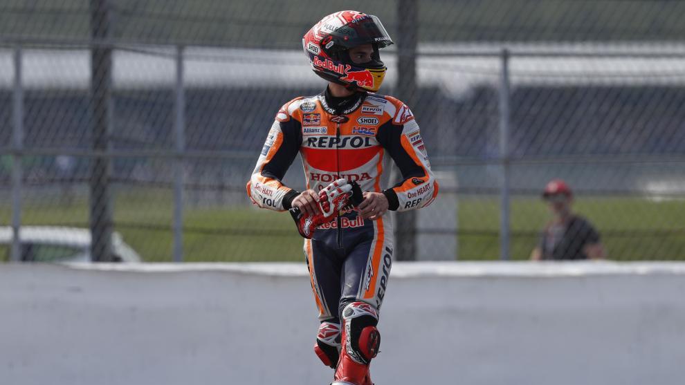 Marc Márquez, tras acabar la carrera en Silverstone.