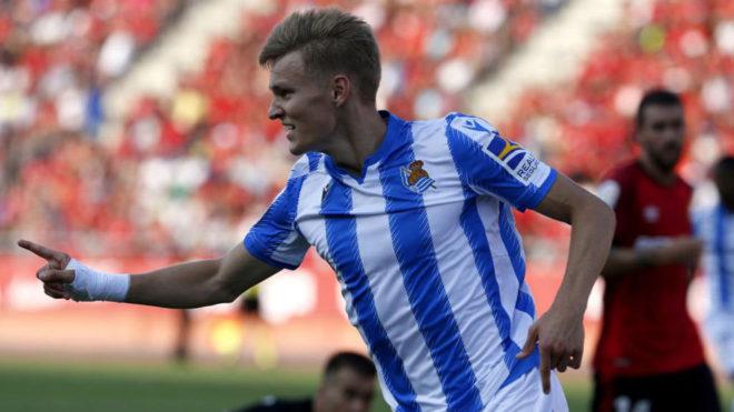 Martin Odegaard, celebrando el gol ante el Mallorca.