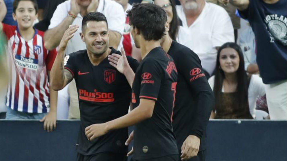 Vitolo celebra su gol en Butarque.