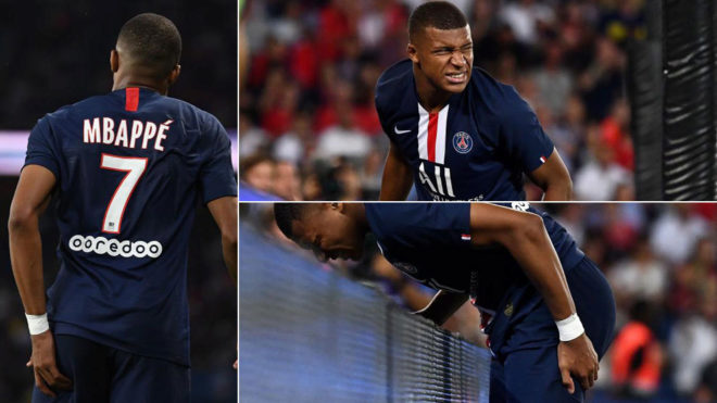 Kylian Mbappe after the injury.