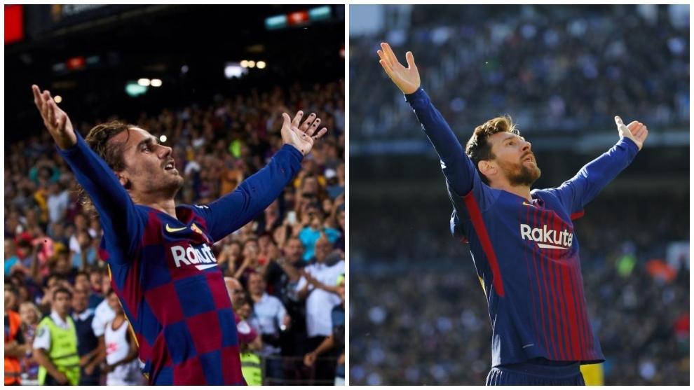 Griezmann y Messi celebrando goles ante Betis y Madrid,...