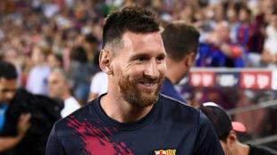 Messi, en la grada del Camp Nou el pasado domingo.