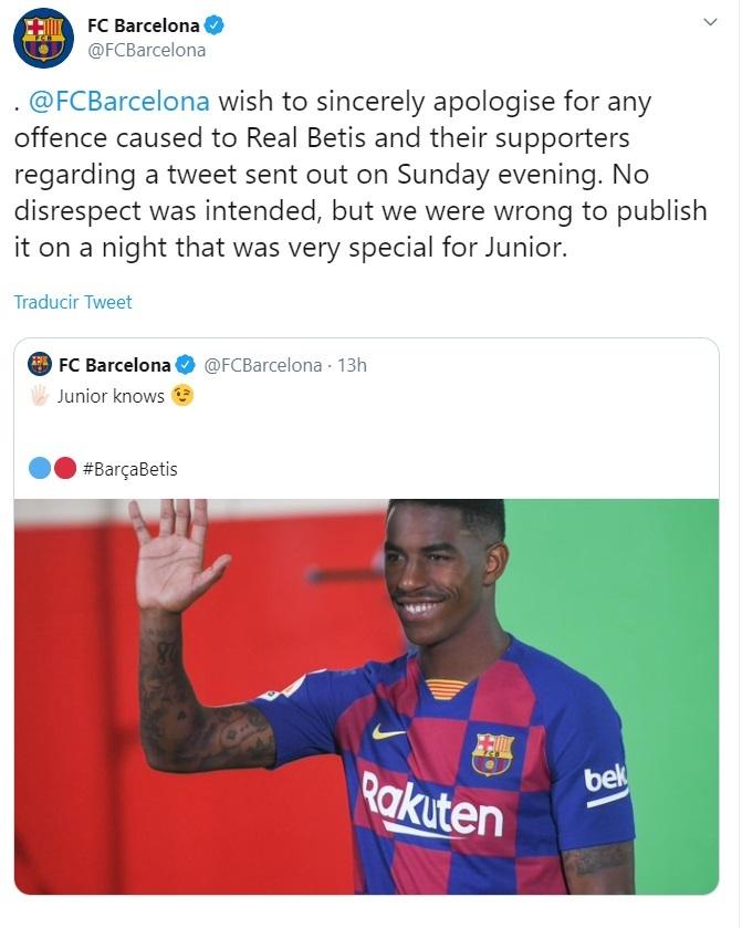 El Barça se disculpa tras el polémico tweet sobre Firpo