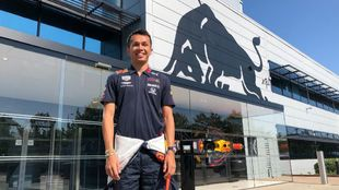 Alexander Albon, en su primer día con Red Bull.