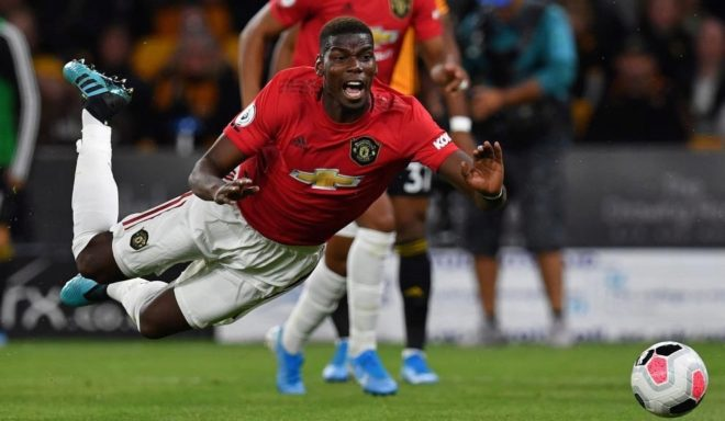 Pogba, in a match with Manchester United.