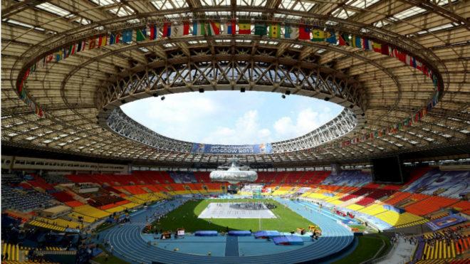 Vista del estadio de Luzhniki, en Moscú, antes del Mundial de 2013