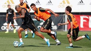 Mariano, durante la sesión de entrenamiento