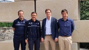 Integrantes de la candidatura de Ibiza, incluido el presidente de la...