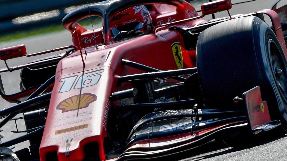 El Ferrari de Charles Leclerc, en Hungría.