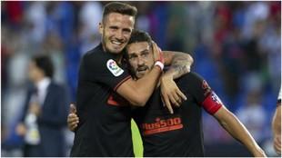 Saúl y Koke celebran la victoria contra el Leganés
