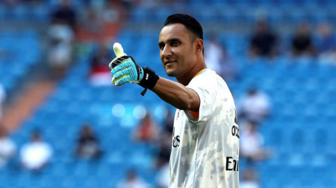 Keylor Navas greeting the fans during his last Real Madrid game at the...