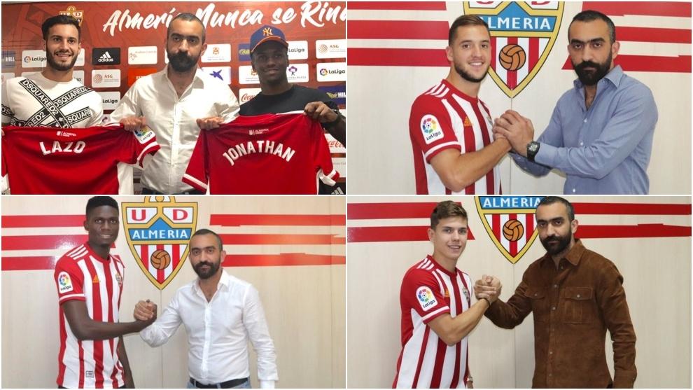 Turki Al-Sheikh presentando a diferentes futbolistas del Almería