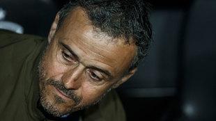 Luis Enrique, en su último partido en el banquillo de la selección,...