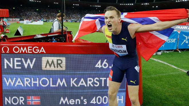 Karsten Warholm, con su nuevo récord de Europa