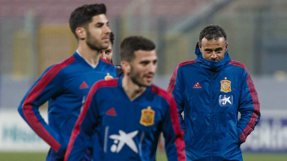 Luis Enrique, en su último entrenamiento con la selección española.