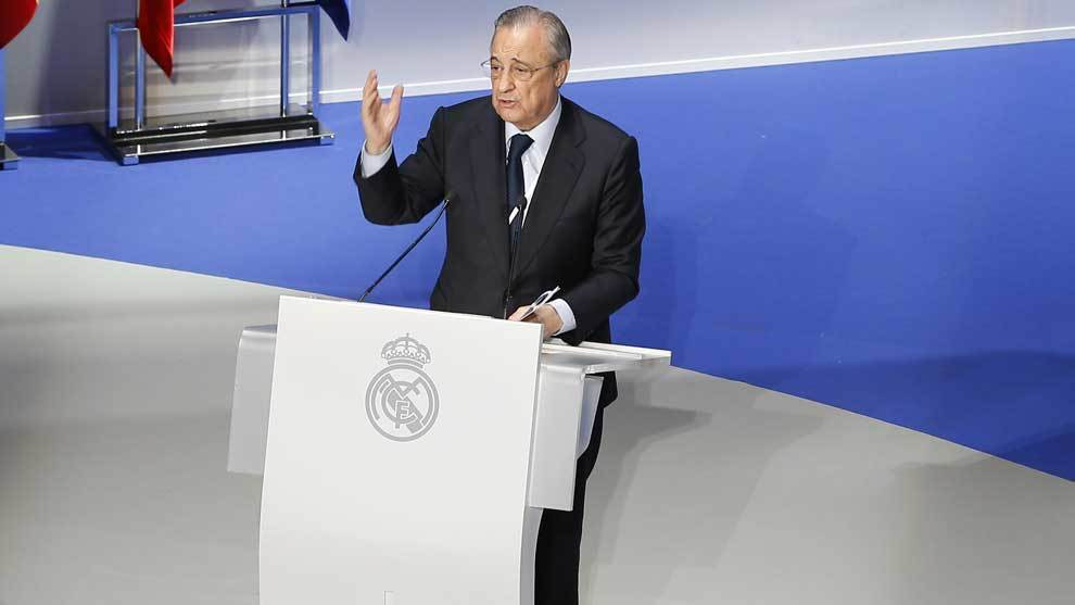 Florentino Perez at Real Madrid's most recent General Assembly.