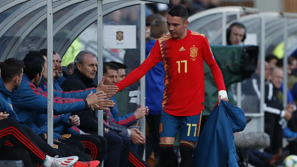 Aspas, en un partido reciente con la selección española.
