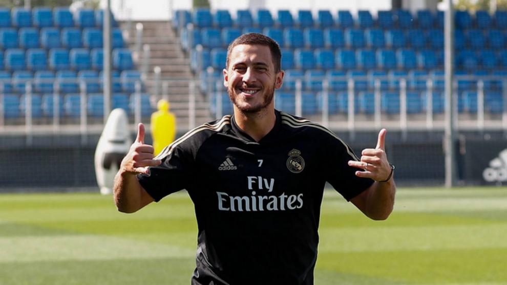 Eden Hazard during this morning's training session at Valdebebas.