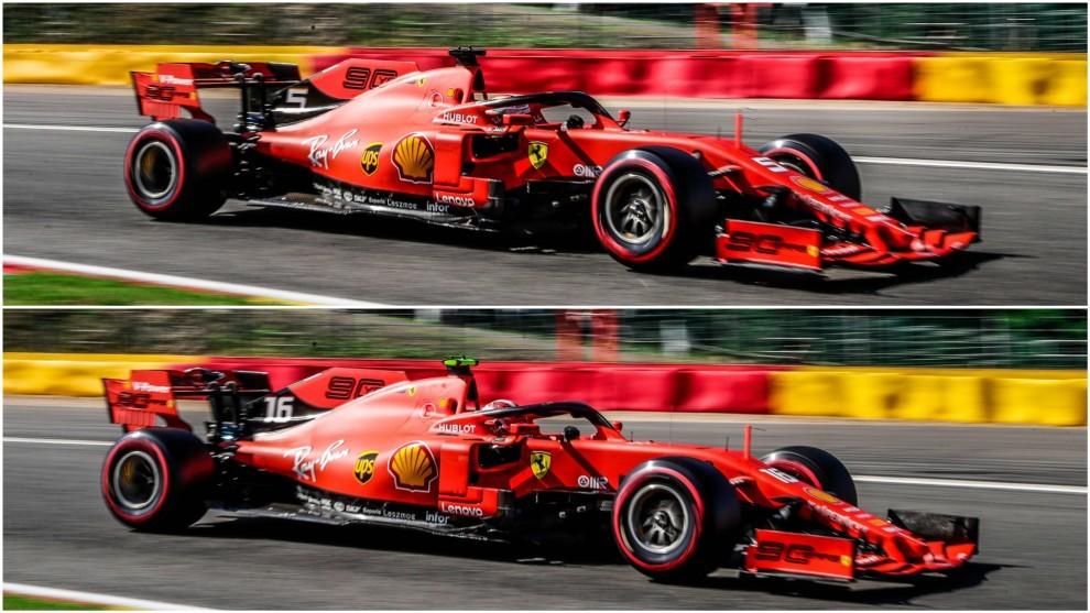 Vettel y Leclerc, en los Libres 1 en el circuito de Spa-Francorchamps.