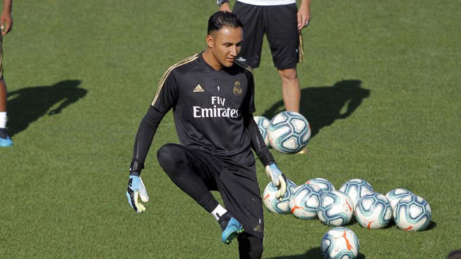 Keylor Navas during a training session at Valdebebas.