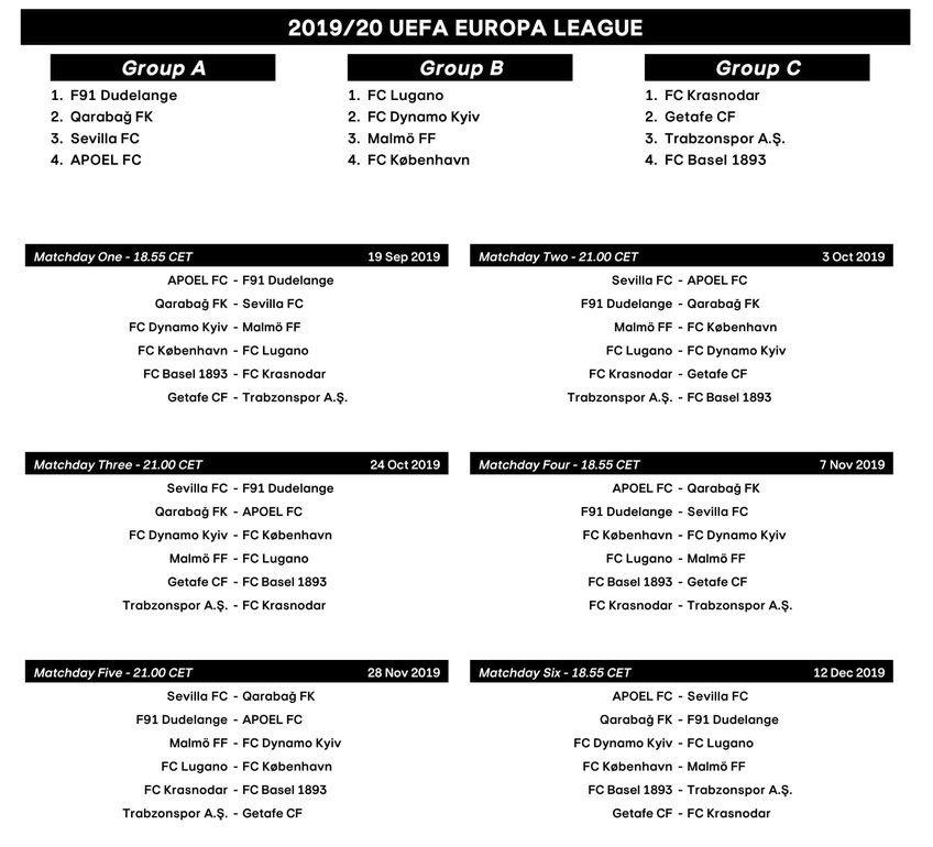 Calendario Uefa Europa League.Sorteo Europa League 2019 2020 Calendario De La Europa