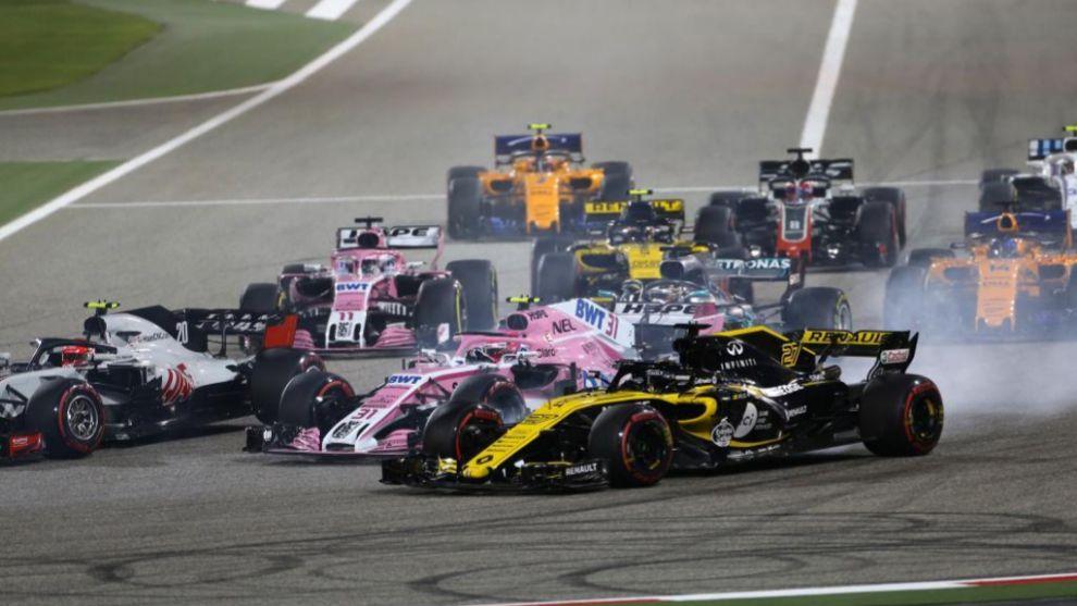 Salida del GP de Bahréin 2018.