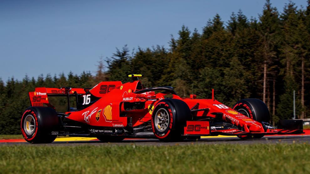 El Ferrari de Leclerc, en Spa.
