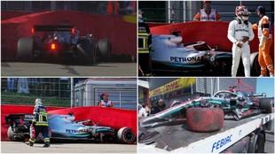 Hamilton se fue contra el muro en Spa durante los Libres 3.