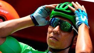 Nairo Quintana, antes de la etapa de hoy.