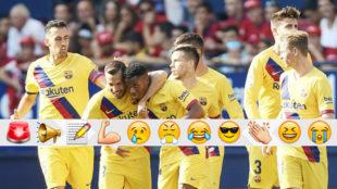 Los jugadores del Barça felicitan a Ansu Fati