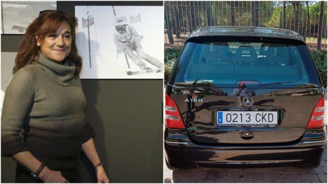 Blanca Fernández Ochoa, a la izquierda, y una imagen de su vehículo,...
