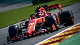 Charles Leclerc, durante la clasificación en Spa.