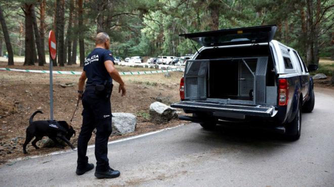 Un miembro de la Policía, con un perro rastreador en la zona donde se...