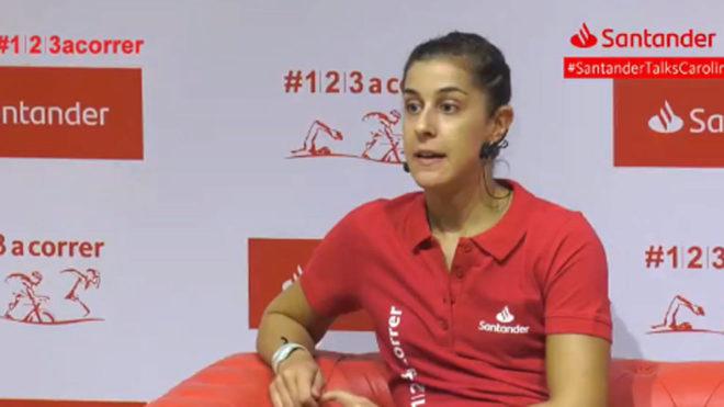 Carolina Marín, durante un acto del Banco Santander.