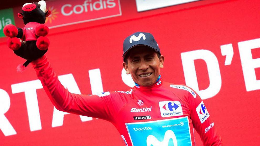 Nairo Quintana, este domingo tras acceder al liderato de la Vuelta.