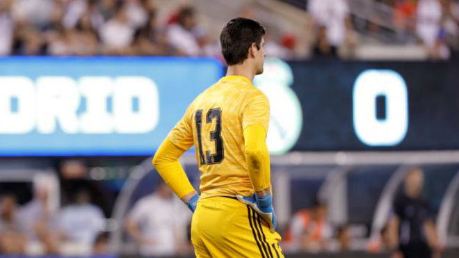 Thibaut Courtois wearing the No.13 during one of Real Madrid's...