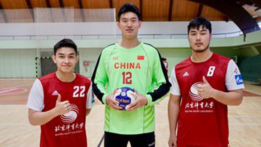 Tres integrantes del equipo chino Beijing Sport University /