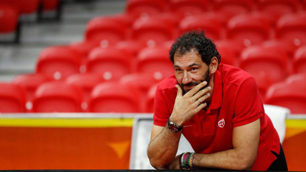 Jorge Garbajosa durante un entrenamiento de la selección española