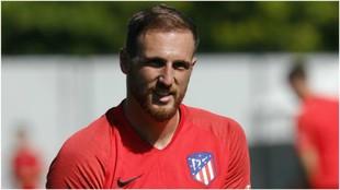 Oblak durante un entrenamiento del Atlético de Madrid