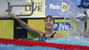 Alba Vázquez, al término de la final de los 400 m estilos en la que...
