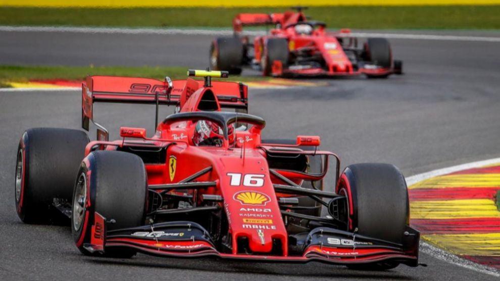 Charles Leclerc y Sebastian Vettel, en Spa.