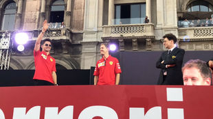 Leclerc, Vettel y Binotto, en Milán.