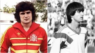 José Antonio Camacho, en su época de jugador, y Marius Lacatus, el...