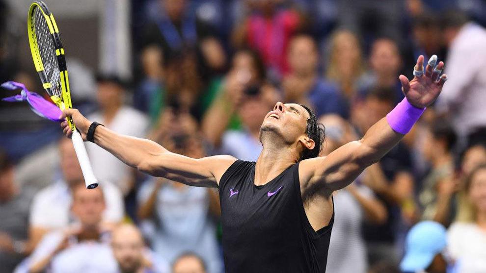 Rafa Nadal celebrando la victoria contra Schwartzman en el US Open