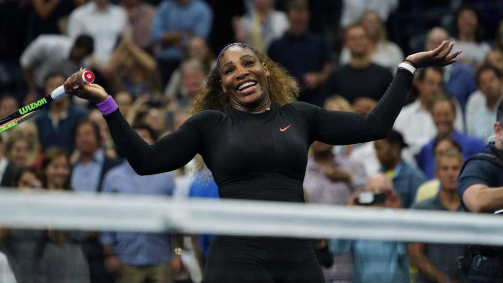 Serena celebra la victoria en su semifinal con Svitolina
