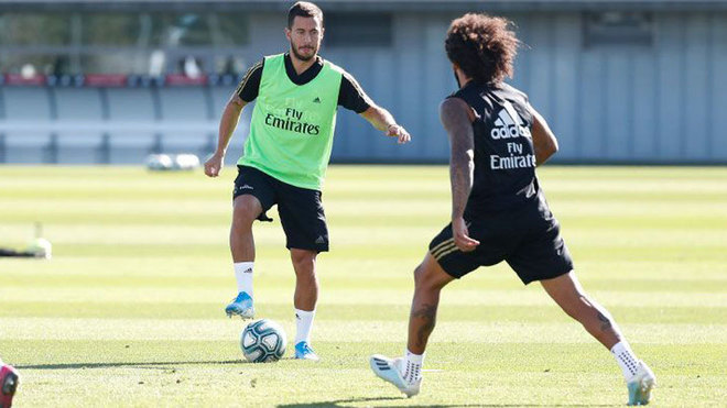 Eden Hazard and Marcelo during Real Madrid's training session.