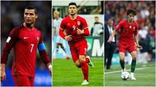 Cristiano Ronaldo (34), Luka Jovic (21) y Joao Félix (19(.