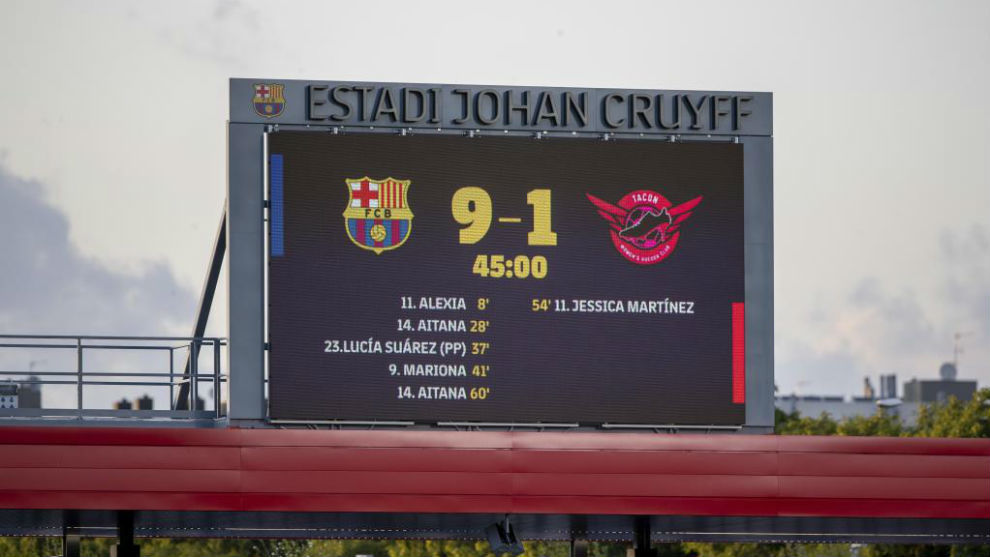 Marcador final en el Estadi Johan Cruyff en el duelo entre Barcelona y...