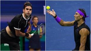 Federer y Nadal, en el momento del saque