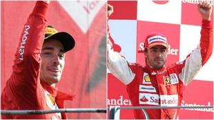 Charles Leclerc y Fernando Alonso, celebrando sus victorias en Monza.